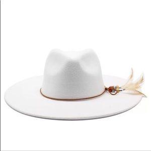 Feathered Boho Gypsy Inspiration Panama Hat, White